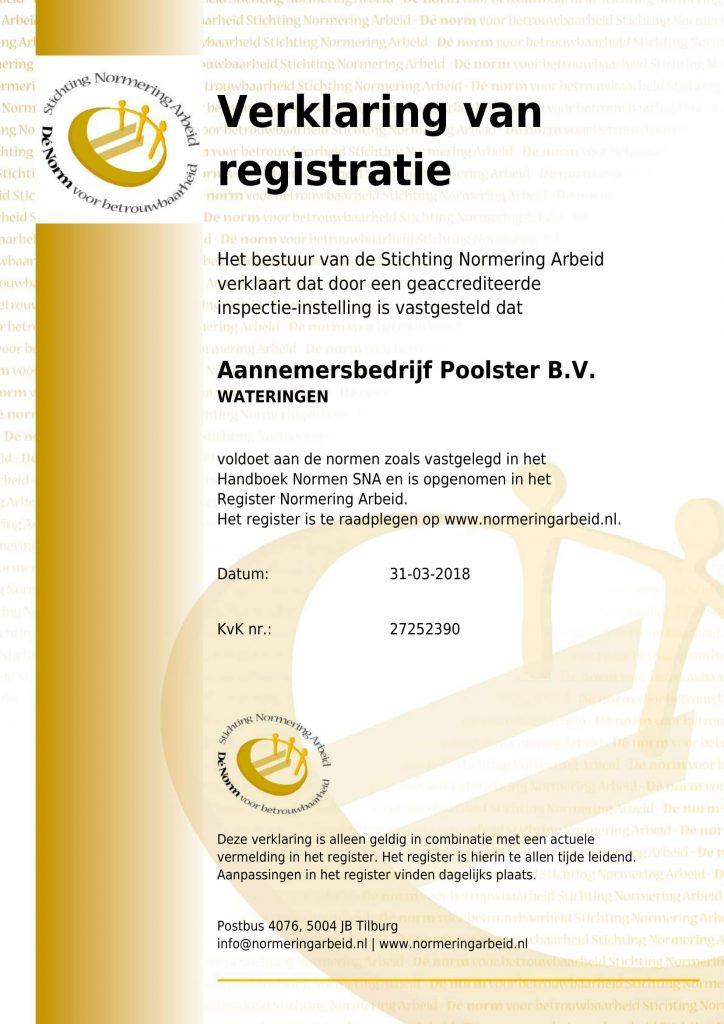 SNA verklaring - Certificaten van Poolster BV