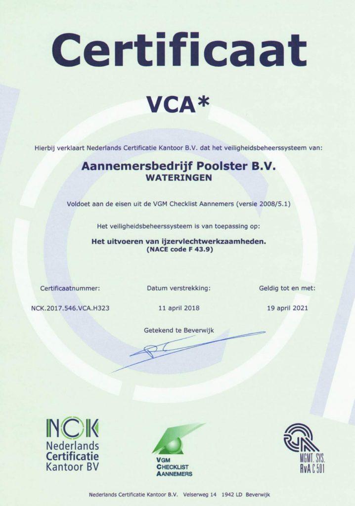 VCA certificaat - Certificaten van Poolster BV